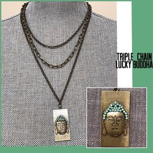 Jewelry - Ant.Gold Layered Chains Buddha Dogtag Necklace,NWT